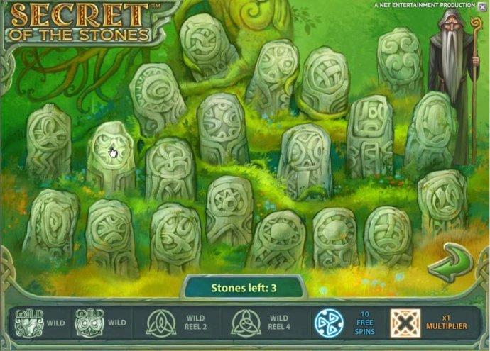 bonus feature game board - pick three stones to earn prizes - No Deposit Casino Guide