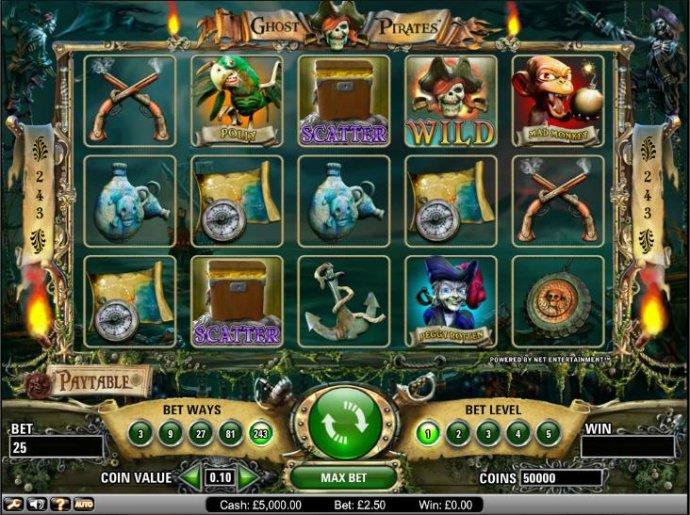 Ghost Pirates slot game board - No Deposit Casino Guide