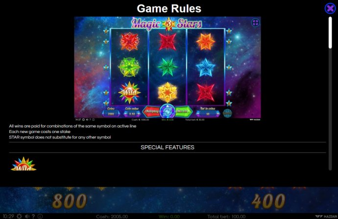No Deposit Casino Guide image of Magic Stars 3