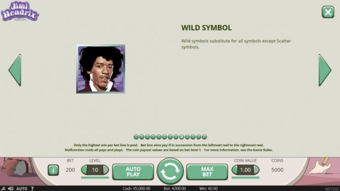 Jimmi Hendrix portrait is wild and substitutes for all symbols except scatter symbols. by No Deposit Casino Guide