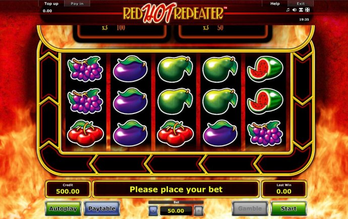 A fruit themed main game board featuring five reels and 10 paylines with a $50,000 max payout by No Deposit Casino Guide