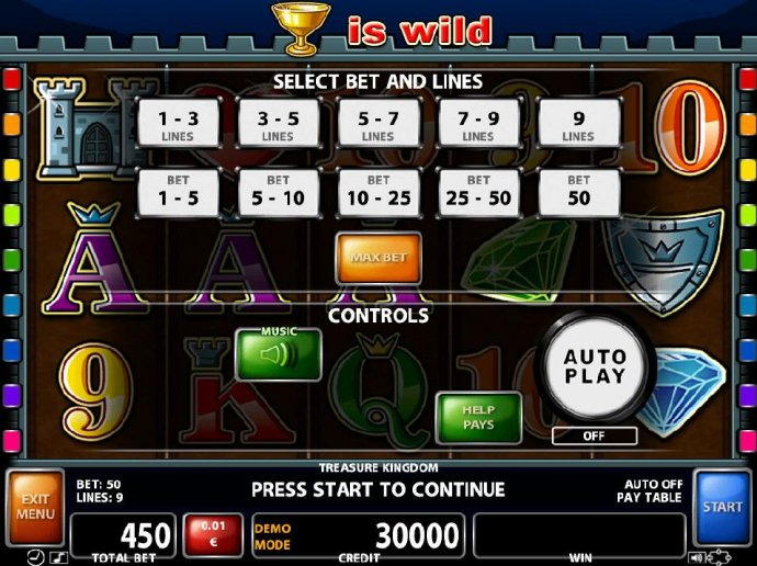 Select Bet and Lines - 1 to 9 Lines and 1 to 50 coins per line. - No Deposit Casino Guide