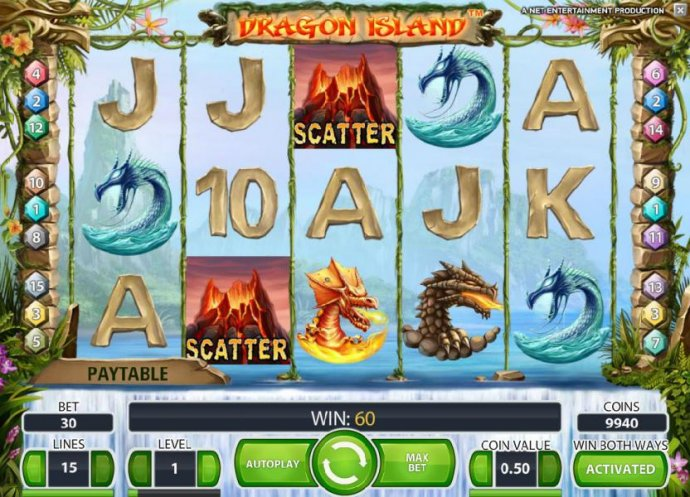 a pair of scatter symbols triggers a 60 coin jackpot by No Deposit Casino Guide