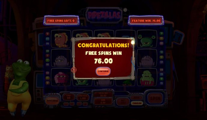 The free spins feature pays out a total of $76 for a modest win. by No Deposit Casino Guide