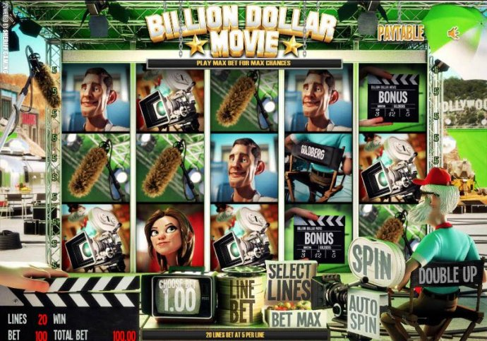 main game board featuring five reels and twenty paylines - No Deposit Casino Guide