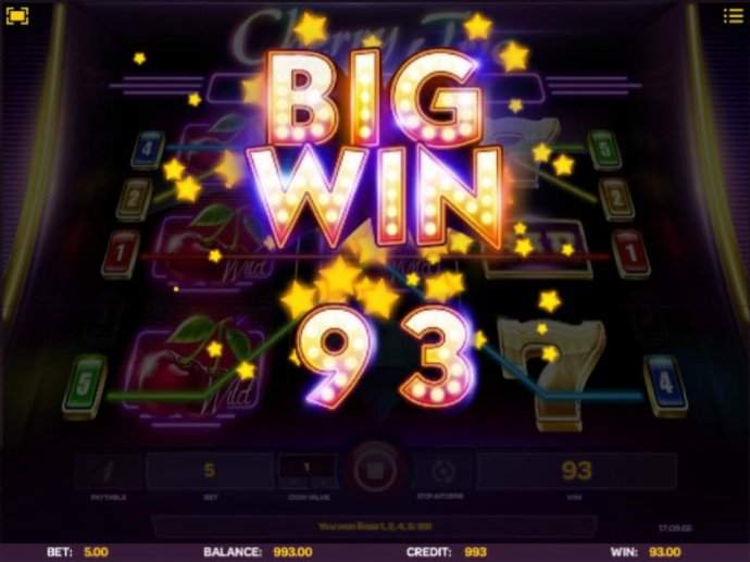Cherry Respins feature leads to a 93 coin big win. by No Deposit Casino Guide