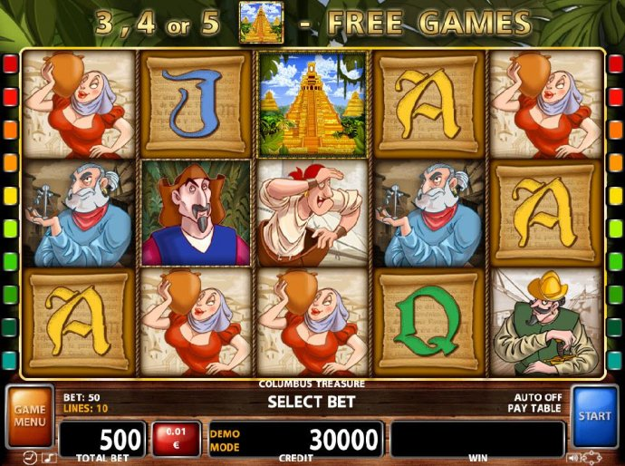 An explorer adventure themed main game board featuring five reels and 50 paylines with a $500,000 max payout by No Deposit Casino Guide