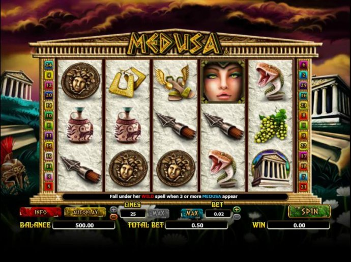 main game board featuring five reels and 25 paylines - No Deposit Casino Guide
