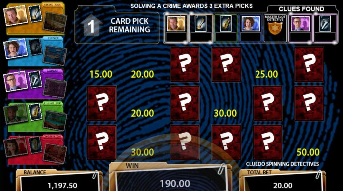 Accumulated bonus prizes so far with one pick left to solve one of two crimes. by No Deposit Casino Guide