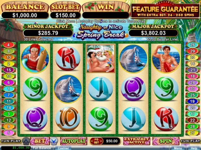 Main game board featuring five reels, 30 paylines and a $1,500 max payout by No Deposit Casino Guide