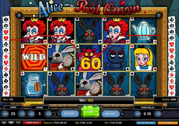 Multiple winning paylines triggers a 500 coin big win! - No Deposit Casino Guide