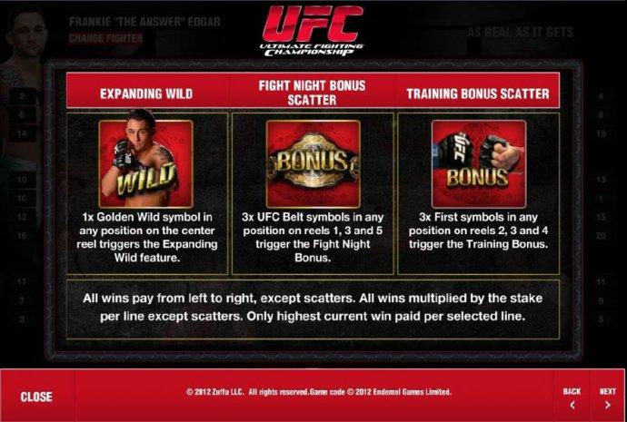 No Deposit Casino Guide - expanding wild, fight night bonus scatter and training bonus scatter rules