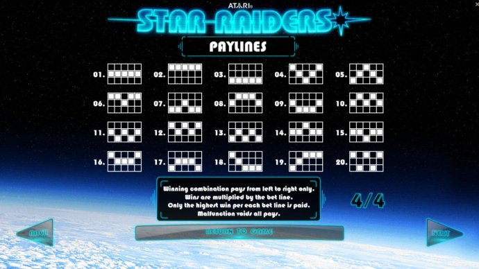 Payline Diagrams 1-20. Winning combination pays from left to right only. Wins are multiplied by the bet line. Only the Highest win per each bet line is paid. - No Deposit Casino Guide