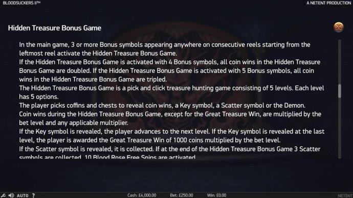Hidden Treasure Bonus Game Rules by No Deposit Casino Guide