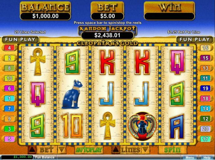 An Egyptian themed main game board featuring five reels and 20 paylines with a $12,500 max payout by No Deposit Casino Guide