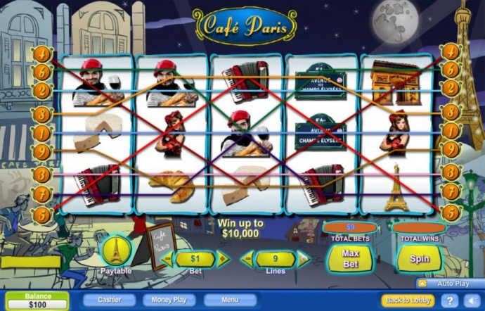 No Deposit Casino Guide - Main game board featuring five reels and 9 paylines with a $100,000 max payout