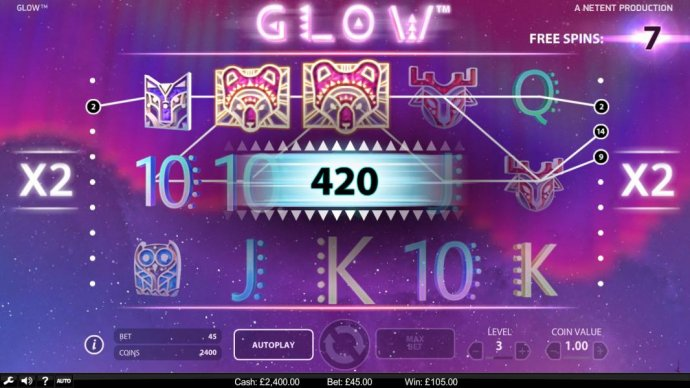 A 420 coin big win triggered by multiple winning pay lines during the free spins feature. by No Deposit Casino Guide