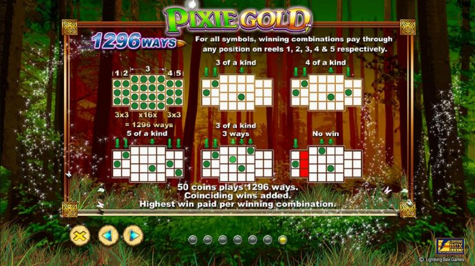 1296 Ways - For all symbol, winning combinations pay through any position on reels 1, 2 ,3 4 and 5 respectively. 50 coins plays 1296 ways - No Deposit Casino Guide