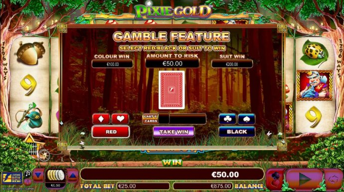 Gamble feature is available after every winning spin. Simply click the gamble button for a chance to increase your winning. - No Deposit Casino Guide
