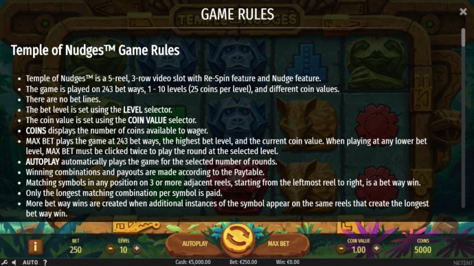 No Deposit Casino Guide image of Temple of Nudges