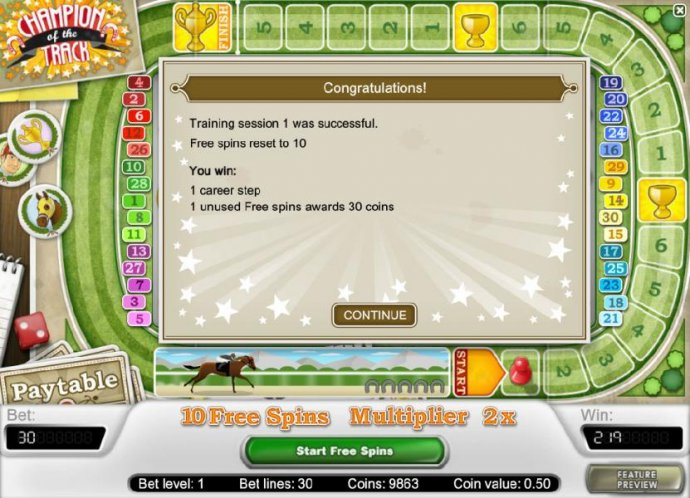 training session 1 was successful - free spins reset to 10 by No Deposit Casino Guide