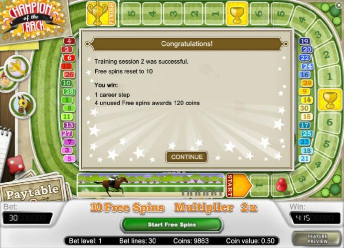 you have completed another training session and the free spins has been reset to 10 by No Deposit Casino Guide