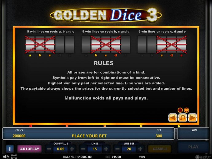 No Deposit Casino Guide image of Golden Dice 3