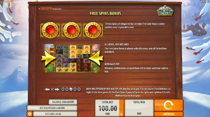 Free Spins Bonus - 10 free spins are triggered by 3 or more free spin bonus scatter symbols occur in playable area. - No Deposit Casino Guide
