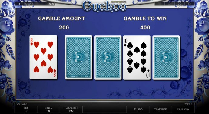 Gamble Feature Game Board - try to beat the Dealers card by selecting 1 of 4 closed cards. If your card is higher, your winnings are doubled. If your card is lower then the Dealers you forfeit your winnings. by No Deposit Casino Guide