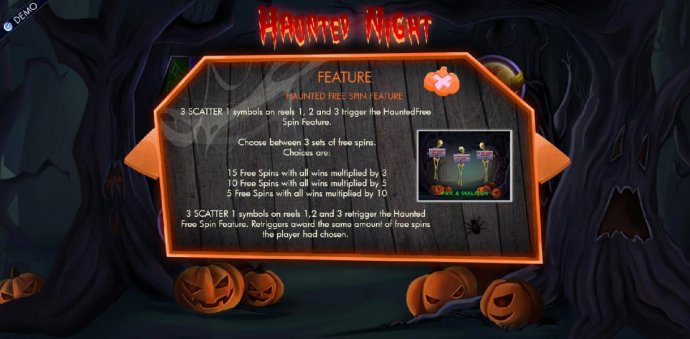Haunted free spins feature game rules. by No Deposit Casino Guide