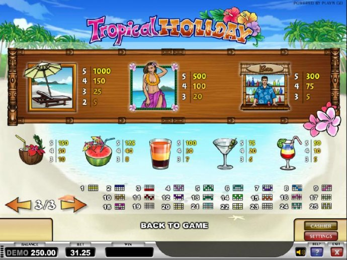 No Deposit Casino Guide image of Tropical Holiday