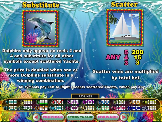 Dolphin Wild and Yacht Scatter symbols rules. - No Deposit Casino Guide
