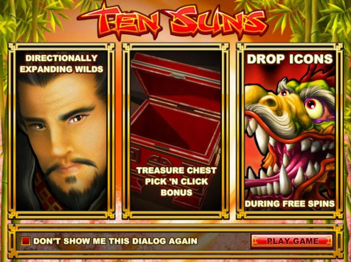 Game features include: Directional Expanding Wilds, Treasure Chest Pick N Click Bonus and Drop Icons during Free Spins. - No Deposit Casino Guide