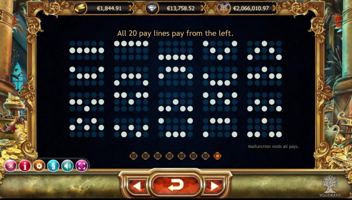 Payline Diagrams 1-20. All 20 pay lines pay from the left. by No Deposit Casino Guide