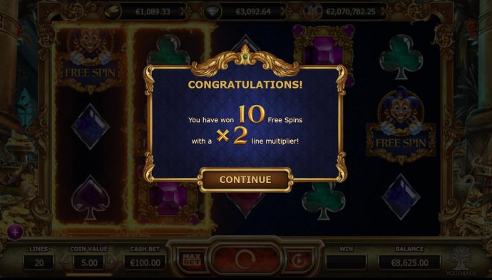 No Deposit Casino Guide - 10 free spins with a x2 line multiplier awarded.