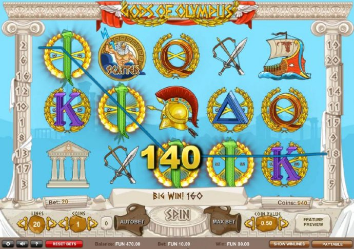 A 140 coin payout triggered by a four of a kind! - No Deposit Casino Guide
