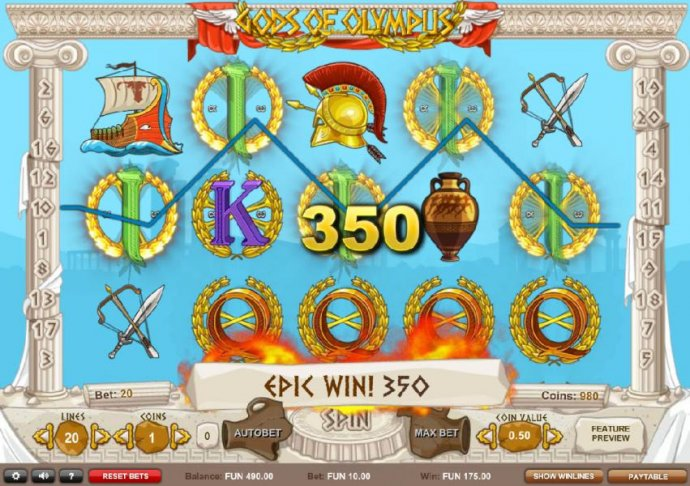 A 350 coin epic win triggered by a five of a kind. by No Deposit Casino Guide