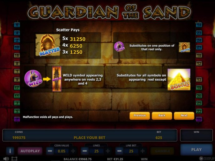 No Deposit Casino Guide image of Guardian of the Sand