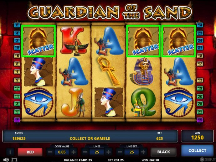 No Deposit Casino Guide - Scatter win triggers a 1250 credit win.