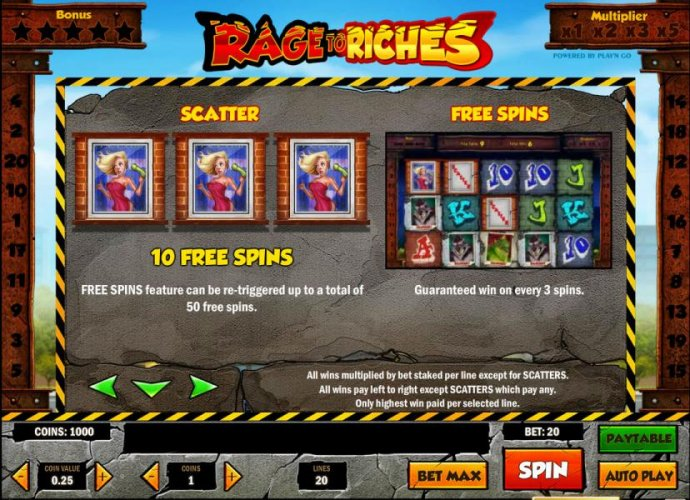 scatter and free spin rules by No Deposit Casino Guide