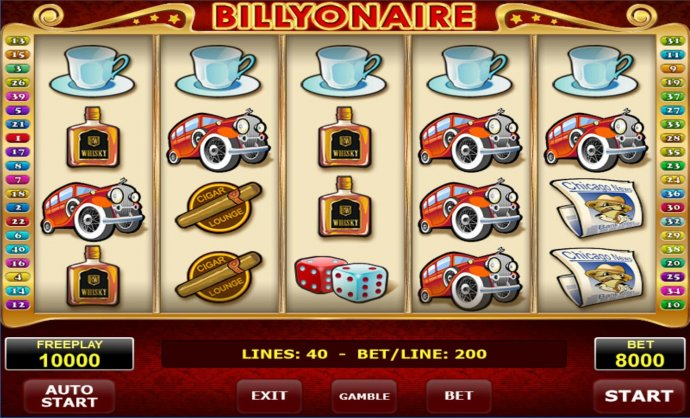 Main game board featuring five reels and 40 paylines with a $2,000,000 max payout. - No Deposit Casino Guide