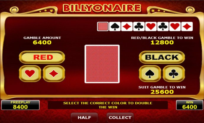 No Deposit Casino Guide - Gamble Feature - To gamble any win press Gamble then select color or a suit.
