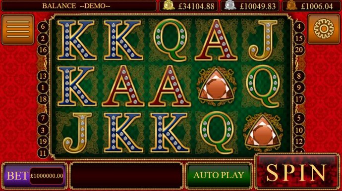 No Deposit Casino Guide - Main game board featuring five reels and 20 paylines with a Jackpot max payout