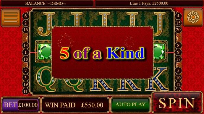 No Deposit Casino Guide - A five of a kind triggers a Big Win!