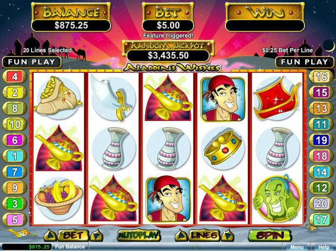 Three or more Magic Lamp scatter symbol anywhere on the reels left to right or right to left triggers the Bonus Feature. by No Deposit Casino Guide