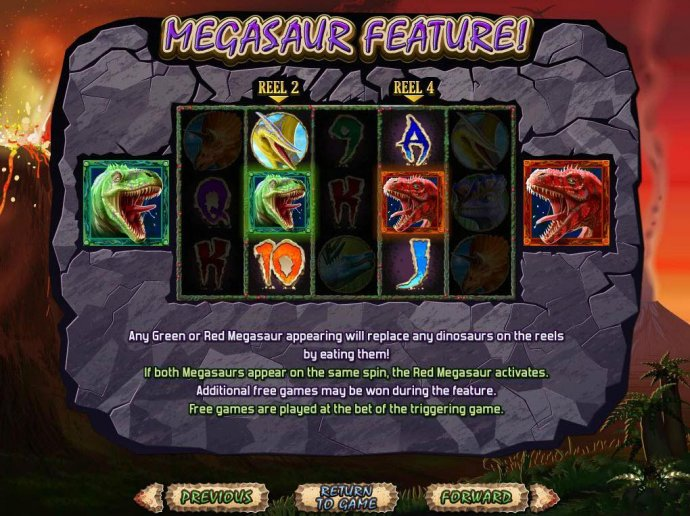 Any green or red megasaur appearing will replace any dinosaurs on the reels by eating them. by No Deposit Casino Guide