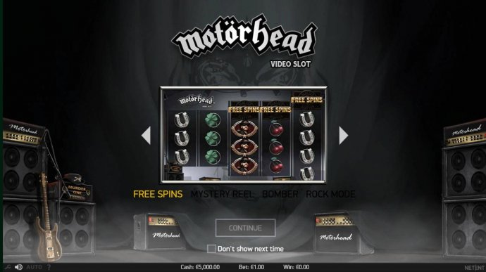 No Deposit Casino Guide - features include Free Spins, Mystery reel, Bomber Feature and Rock Mode.
