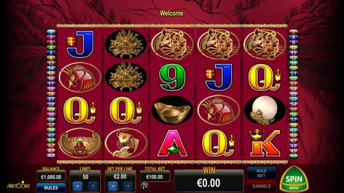 Main game board featuring five reels, 50 paylines and a 1000x max payout - No Deposit Casino Guide