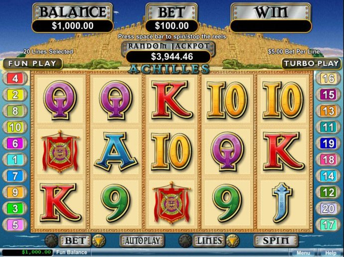 A Greek mytholigy themed main game board featuring five reels and 20 paylines with a $250,000 max payout - No Deposit Casino Guide