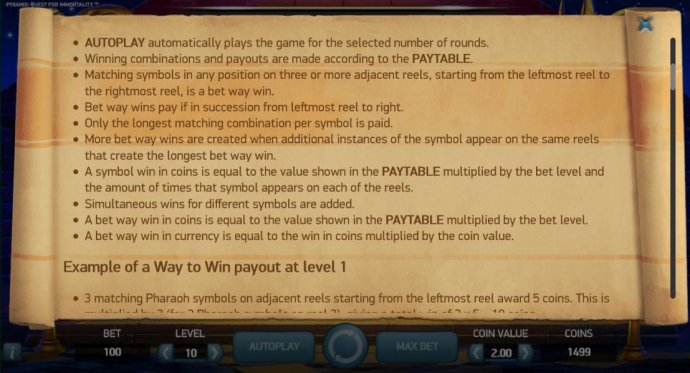 No Deposit Casino Guide image of Pyramid Quest for Immortality